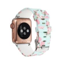 Řemínek pro Apple Watch 41mm / 40mm / 38mm - květinový motiv - silikonový - mátově zelený