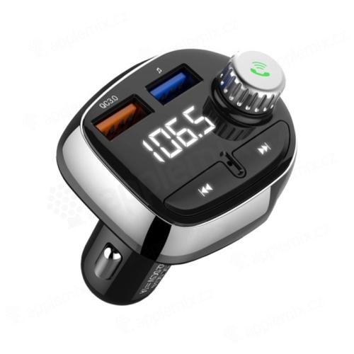 FM transmitter / vysílač + autonabíječka 2x USB + Bluetooth 4.1 handsfree - LED displej - černý