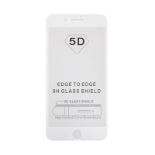 "Tvrzené sklo (Tempered Glass) ""5D"" pro Apple iPhone 7 Plus / 8 Plus - 3D - bílý rámeček - čiré - 0,3mm"