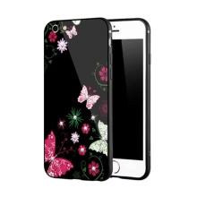 Kryt NXE pro Apple iPhone 6 / 6S - motýli a květiny - sklo / guma