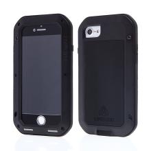 Pouzdro LOVE MEI pro Apple iPhone 7 / 8 / SE (2020) - outdoor - kov / silikon - tvrzené sklo na přední části - černé
