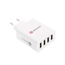 EU napájecí adaptér / nabíječka SWISSTEN Smart IC s 4x USB porty (4.5A) - bílý