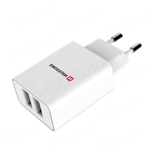 Napájecí adaptér / nabíječka SWISSTEN Smart IC - 2x  USB (2.1A) - EU koncovka - bílý