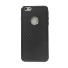 Kryt pro Apple iPhone 6 Plus / 6S Plus plasto-gumový - výřez pro logo - efekt 3D krychle se strukturou - černý