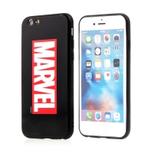 Kryt MARVEL pro Apple iPhone 6 / 6S - sklo / guma - černý