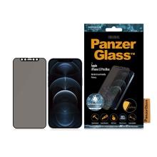 Tvrzené sklo (Tempered Glass) PANZERGLASS pro Apple iPhone 12 Pro Max - privacy - antibakteriální - černý rámeček - 0,4mm