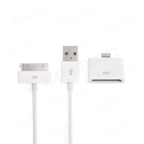 Synchronizační a nabíjecí kabel 2v1 - 30 pin + Lightning -1m - bílý