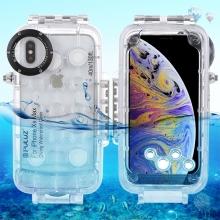 Pouzdro vodotěsné PULUZ pro Apple iPhone Xs Max s odolností do 40m hloubky (IPX8) - průhledné / bílé