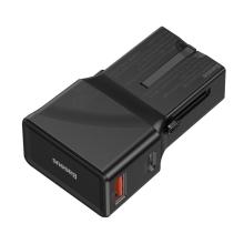 Cestovní adaptér / nabíječka BASEUS - přepojka EU / UK / US / AU - USB + USB-C - QC 3.0, PD - 18W - černá