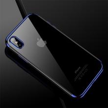 Kryt CAFELE pro Apple iPhone X - gumový / pokovené hrany - průhledný / modrý