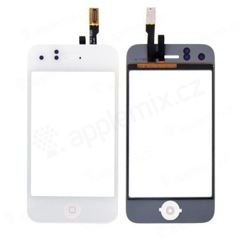 Dotykové sklo (touch screen digitizér) s Home Buttonem pro Apple iPhone 3GS - bílé - kvalita A
