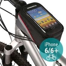 Sportovní pouzdro na kolo pro Apple iPhone 6 / 6S a zařízení vel. až 5,5 + úschovný prostor - černo-červené s reflexním pruhem