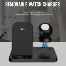 3v1 nabíjecí stanice Qi XO pro Apple iPhone + AirPods + Watch - skládací - černá