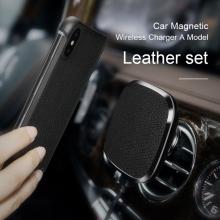 Držák NILLKIN magnetický na ventilační mřížku auta / bezdrátová nabíječka Qi / kryt pro Apple iPhone X / Xs - pravá kůže - černý