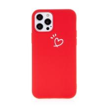 Kryt pro Apple iPhone 12 / 12 Pro - srdce - gumový - červený