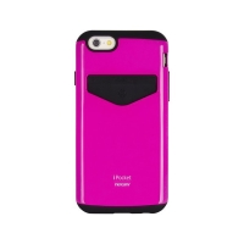 Kryt Mercury pro Apple iPhone 6 Plus / 6S Plus - plasto-gumový - prostor pro umístění platební karty - růžový