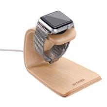 Dřevěný nabíjecí stojánek SAMDI pro Apple Watch Series 1 / 2 / 3 / 4 - světlý