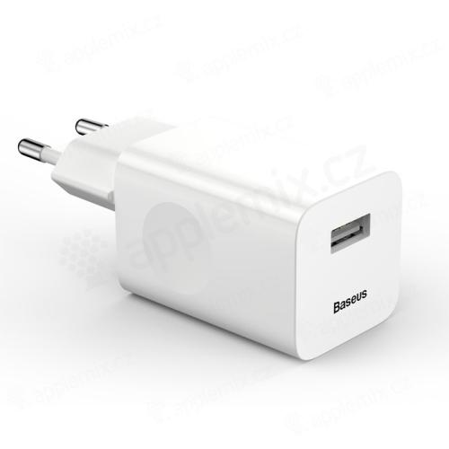 Nabíječka / EU napájecí adaptér BASEUS - 1x USB - 24W QuickCharge - bílý