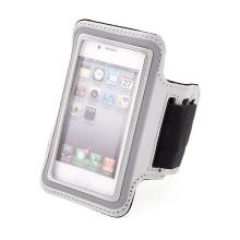 Sportovní pouzdro pro Apple iPhone 4 / 4S - stříbrné s reflexním pruhem