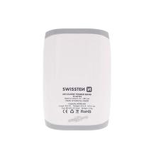 Externí baterie / power bank SWISSTEN 6000mAh s 2x USB (1A, 2.1A) a LED svítilna - bílá