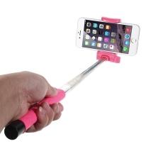 Teleskopická selfie tyč / monopod bluetooth - růžová