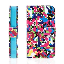Ochranné pouzdro pro Apple iPhone 4 / 4S se stojánkem a prostorem pro umístění platebních karet - barevné geometrické tvary