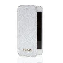 Pouzdro GUESS IriDescent Book pro Apple iPhone 6 / 6S / 7 / 8 - umělá kůže / plastové - stříbrné / průhledné