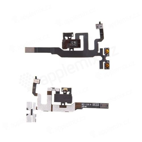 Flex kabel s audio jackem, přepínačem mute, ovládáním volume a vrchním mikrofonem pro Apple iPhone 4S - černý