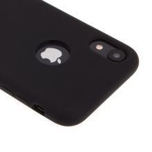 Kryt pro Apple iPhone Xr - gumový - příjemný na dotek - výřez pro logo - černý