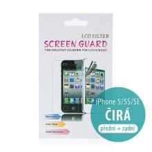 Ochranná fólie 2v1 pro Apple iPhone 5 / 5S / SE - na přední a zadní stranu - čirá
