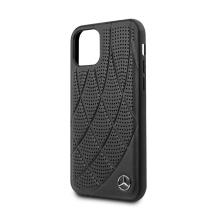 Kryt MERCEDES-BENZ pro Apple iPhone 11 Pro Max - křivky a otvory - kožený - černý