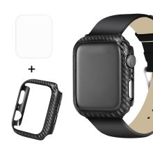 2v1 Kryt / fólie na displej ENKAY pro Apple Watch Series 4 / 5 44mm - karbonová textura