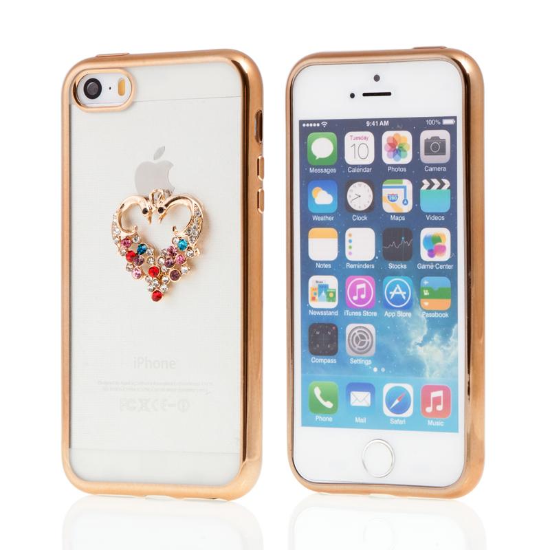 Kryt pro Apple iPhone 5   5S   SE gumový s lesklými kamínky - srdce - c2cf2be29eb