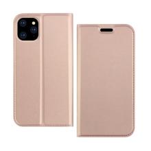 Pouzdro DZGOGO pro Apple iPhone 11 Pro - prostor pro platební karty - umělá kůže - Rose Gold růžové