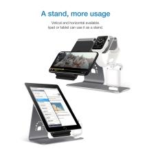 Nabíjecí stojánek Qi BESTAND pro Apple iPhone / iPad / Airpods / Watch - hliníkový - šedý