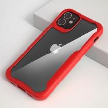 """Kryt pro Apple iPhone 12 (5,4"""") - plastový / gumový - průhledný / červený"""