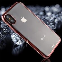 Kryt pro Apple iPhone X - s kamínky po obvodu - gumový - průhledný / Rose Gold