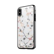 Kryt SULADA pro Apple iPhone Xs Max - plastový - motýli a květiny s kamínky - černý