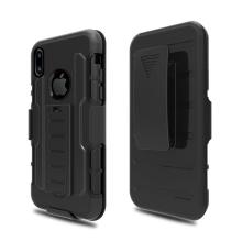 Kryt pro Apple iPhone X + držák za opasek / pouzdro - plast / silikon - černý