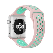Řemínek pro Apple Watch 38mm Series 1 / 2 / 3 silikonový - růžový / zelený - (S/M)