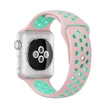 Řemínek pro Apple Watch 40mm Series 4 / 38mm 1 2 3 - silikonový - růžový / zelený - (S/M)