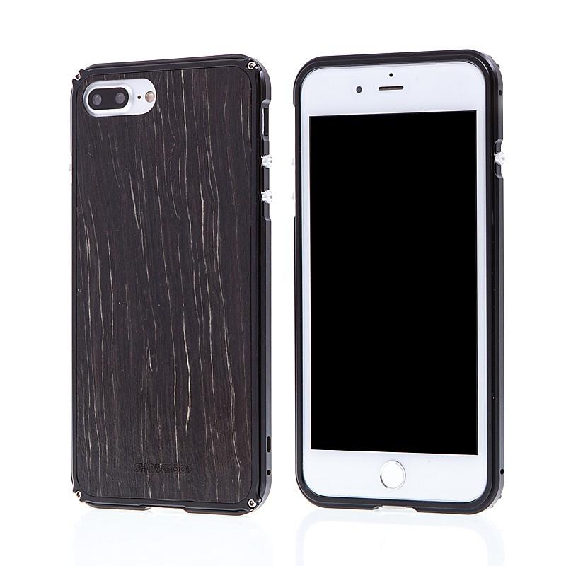 Rámeček / bumper + zadní kryt pro Apple iPhone 7 Plus / 8 Plus - hliník / dřevo - černý