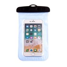 Pouzdro pro Apple iPhone 4 / 5 / SE voděodolné gumové / plastové - průhledné / modré
