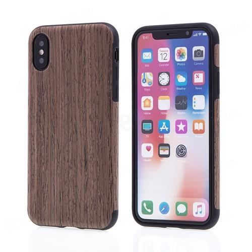 Kryt pro Apple iPhone X - gumový - hnědý   motiv dřeva dub tmavý ... 64b87928c12