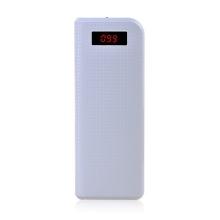 Univerzální 20000mAh externí baterie s 2 USB porty a LED baterkou pro Apple iPhone / iPad / iPod a další zařízení - bílá