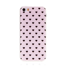 Kryt BABACO pro Apple iPhone 5 / 5S / SE - gumový - srdíčka - růžový