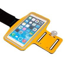 Sportovní pouzdro pro Apple iPhone 6 / 6s / 7 / 8 Plus a X / Xs / Xr - reflexní pruh - oranžové
