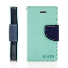 Pouzdro Mercury Fancy Diary pro Apple iPhone 4 / 4S, stojánek a prostor pro platební karty - tyrkysové modré