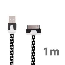 Noodle style synchronizační a nabíjecí USB kabel pro Apple iPhone / iPad / iPod - černý s bílými puntíky