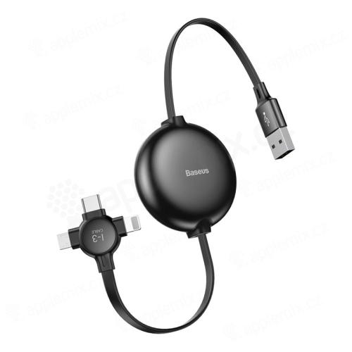 3v1 synchronizační a nabíjecí kabel BASEUS Lightning / Micro USB / USB-C - navíjecí - plochý - černý